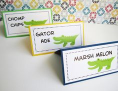 If you are planning for a fun Alligator party, you may in need of these adorable Crocodile Food Tent Cards or Place Cards.  You will get a set of 6 Gator tent cards in green, navy, and yellow. Should you like a specific or different color(s), please let me know. I will do my best to accommodate y...
