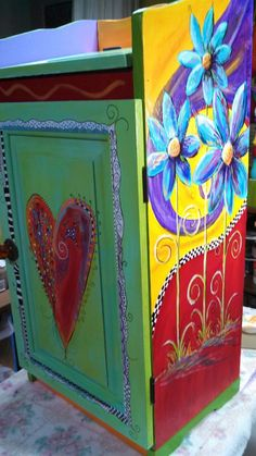 Carolyn's Funky Furniture: Fun Storage Cabinet Carolyn's Funky Furniture: Fun Storage Cabinet - Whimsical Painted Furniture, Painted Chairs, Hand Painted Furniture, Funky Furniture, Art Furniture, Plywood Furniture, Repurposed Furniture, Furniture Projects, Furniture Makeover
