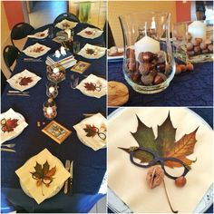 Birthday dinner table decoration for autumn glasses party. Blue lace, nuts, maple leafs, old books, owl, loupe.