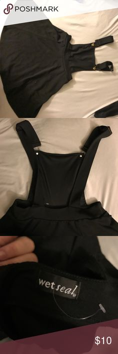 Overall dress Cute black overall dress with bronze buckles size small Wet Seal Dresses Mini