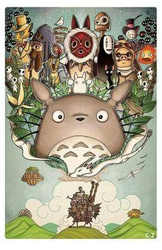 "✏️Peinture the world of Ghibli ""Totoro, Howl's Moving Castle, Spirited Away… this shows of all the great classics that made them who studio ghibli are today Art Studio Ghibli, Studio Ghibli Films, Hayao Miyazaki, Ghibli Tattoo, Tattoo Film, Personajes Studio Ghibli, Anime Plus, Anime Art, Manga Anime"