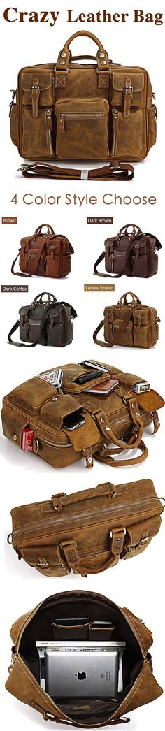 Vintage Genuine Cowhide Leather Messenger Briefcase Shoulder Bag Tote  @starrybuy