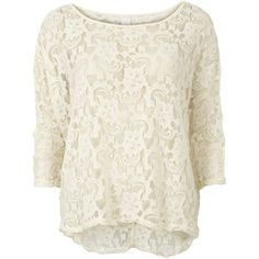 Vila Femme Oversize Top (43 CAD) ❤ liked on Polyvore featuring tops, shirts, sweaters, blusas, off white, lace top, 3/4 sleeve lace top, three quarter sleeve shirts, three quarter sleeve tops and sheer top