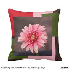 Modern floral pillow; Pink Gerbera Daisy on abstract color blocks in matching pink, red and green.