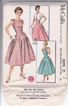 50s Misses Dress Bateau Dropped Waist Shoulder Straps Bolero Circle Skirt Rockabilly Size 16 Bust 34 Sewing Pattern McCalls 3570 Complete