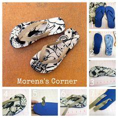 morena's corner: Flip Flop Refashion with Fabric Scraps and Mod Podge