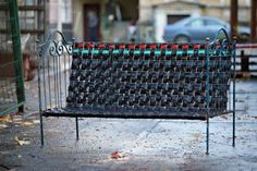 Street bench made from recycled inner tubes
