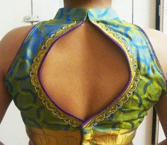 Sari blouse. High neck. Open back.