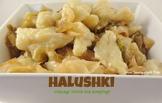 This is the halushki I grew up on!  So good!  And the way it should be served with pieces of dough not store bought egg noodles!
