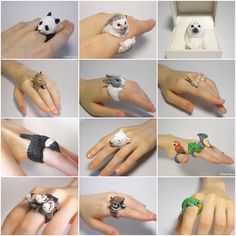 Amazing Handmade Animal Polymer Clay Rings by Jiro Miura