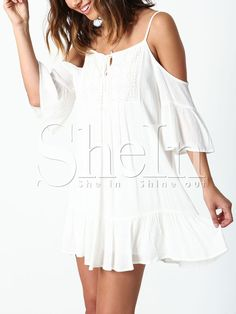 White Off The Shoulder Crochet Lace Ruffle Dress 14.99