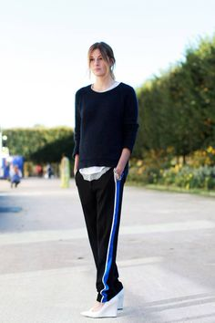 Ten Street-Styling Tricks We Learned From Fashion Week - The Cut. Wear your track pants with heels. Don't fuss with your hair too much.