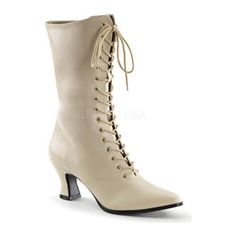 Just the boots for your strong Victorian beliefs! These lace up boots have a two and three quarter inch heel.
