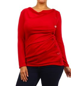 Look at this J-MODE USA Red Side-Button Cowl Neck Top - Plus on #zulily today!