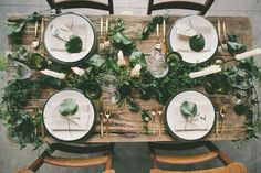 Published: Our Styled Botanical Wedding Inspiration Shoot on Green Wedding Shoes Modern Vintage Weddings, Romantic Weddings, Table Setting Inspiration, Wedding Inspiration, Wedding Ideas, Centerpiece Decorations, Flower Decorations, Greenery Centerpiece, Reception Table