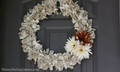 Rag Wreath for Fall - Nice introduction into fall wreath.  I love the netural colors with the pop from the flowers.  I think I will do one with Linen and Burlap.