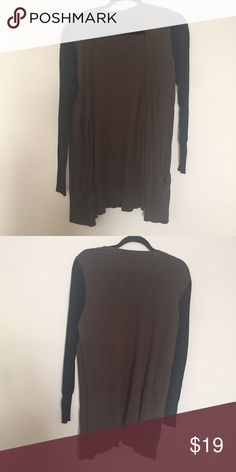 Extra long Cardigan with pockets! The body is more of a greenish brown and the sleeves are black. GUC. Mossimo Supply Co Sweaters Cardigans