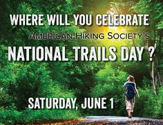 Join us for #NationalTrailsDay on June 1, 2013! Sponsored by The North Face, @Columbia Sportswear, Adventure Medical Kits, Merrell, Gregory, Gerber.  Find events near you: http://www.americanhiking.org/ntd-events/