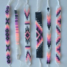 Items similar to Seed Bead Friendship Bracelet - Opal, Neon Peach, Orchid, Gunmetal on Etsy Friendship Bracelets With Beads, Thread Bracelets, Bead Loom Bracelets, Beaded Bracelet Patterns, Friendship Bracelet Patterns, Beaded Earrings, Bracelet Designs, Beaded Jewelry, Gold Bracelets