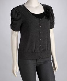Take a look at this Charcoal Ruched-Sleeve Plus-Size Cardigan by Delirious Apparel on #zulily today!