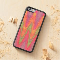 Bright Zigzag Stripes Pattern Watercolor Painting Carved® Maple iPhone 6 Bumper Case