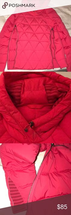 Lululemon hot pink puffer down pullover/ size 4 Super warm/ Runner friendly/ replaces a jacket in warm weather for outdoor workouts/hidden pocket for phone/ side zippers for ventilation/ thumb holes/ Condition- like new lululemon athletica Jackets & Coats Puffers
