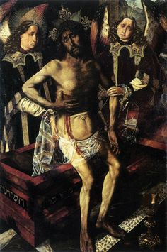 BERMEJO, Bartolomé Christ at the Tomb Supported by Two Angels 1468-74 Oil on panel, 95 x 62 cm Museo de Castillo, Perelada