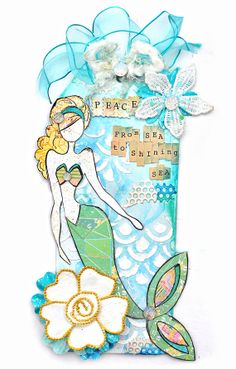 Mermaid  Peace gift tag and Card   scrapbook by EscapeKitty, $8.00