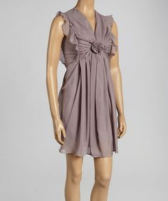 Inspiration for rouched top with flower - Purple Rosette V-Neck Sheath Dress #zulily #zulilyfinds