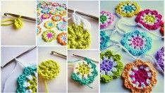 Rengarenk Örgü Çiçek Motifi Anlatımlı