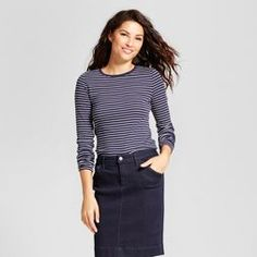 6203b934cfb0a Women s Striped Fitted Long Sleeve Crew T-Shirt - A New Day™ Linen Pants