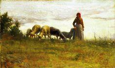 Adolfo Tommasi (Italian painter) 1851 - 1933 Pecore al Pascolo (Sheep Grazing), 1880-85