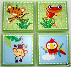 Handmade To Order Rainforest Wall Plaques In Fisher Price Theme