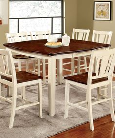 White Rectangle Five-Piece Helire Expandable Wood Dining Set