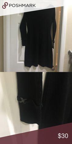 White House | Black Market cotton, black dress Long sleeve, black dress White House Black Market Dresses Midi