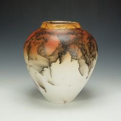 Horse Hair Raku Vessel #4 by Lance Timco: Ceramic Vessel available at www.artfulhome.com