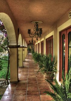 Mexican patios: in San Jose del Cabo, Mexico Hacienda Style Homes, Spanish Style Homes, Spanish House, Spanish Colonial, Spanish Mansion, Spanish Revival, Spanish Courtyard, Courtyard House, Courtyard Landscaping