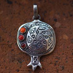 Pendant, Pomegranate, silver. Made in Armenia.