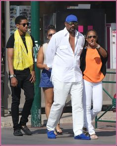 Comedian Steve Harvey was spotted on the beach with his wife Marjorie and their kids Lori and Wynton. Description from lipstickalley.com. I searched for this on bing.com/images
