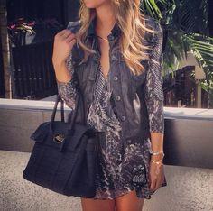 Iro Paris dress + rag & bone leather vest + mulberry editor bag