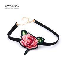 Boho vyšívané kvetinové náhrdelník pre ženy Rose kvety módne šperky Faux suede tenké čierne Chokers Chocker náhrdelníky (Čína)