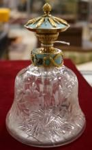 FABERGE GOLD, ENAMEL AND GEM STONE MOUNTED CUT CRYSTAL PERFUME, SIGNED. HEIGHT 6