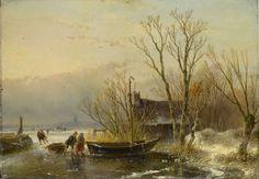Andreas Schelfhout - IJsgezicht met bevroren meer en figuren die een slede met hout trekken (1849)
