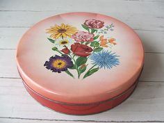 Vintage Floral Tin by Olive Can Chicago by lookonmytreasures on Etsy