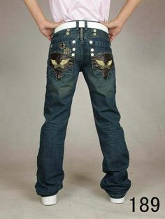NEW Robin's Jean Long Flap Medium Wash Swarovski Embellished ...