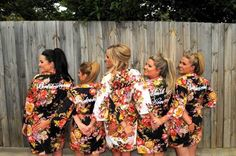 Set of 5 Embroidered Floral Kimono Crossover patterned Robe, Bridesmaids Robes, Bridesmaids gift, getting ready robes, Bridal shower favors by JustCottons on Etsy https://www.etsy.com/listing/176578061/set-of-5-embroidered-floral-kimono