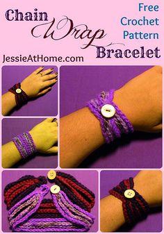 Chain Wrap Bracelet ~ Free Crochet Pattern •✿• Teresa Restegui http://www.pinterest.com/teretegui/ •✿•
