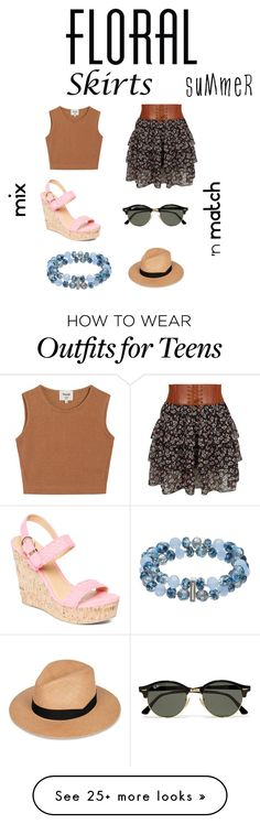 """""""florakk qshy reig0 SKIRTS"""" by cocogirlxoxo on Polyvore featuring Samuji, New Look, Charles Albert, Ray-Ban, rag & bone, Napier and Floralskirts"""