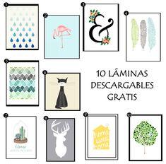 Crear una composición de cuadros y láminas en la pared + 10 Laminas gratis! #decoración #paredes