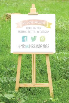 This sign by BuffyWeddings via Etsy encourages your guests to take pictures. #weddingsigns